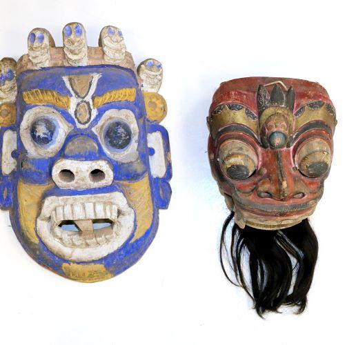 Tibet u. Bali Paar Masken. Maske des Barong, Klappkiefermaske mit Bart. Sowie gr…