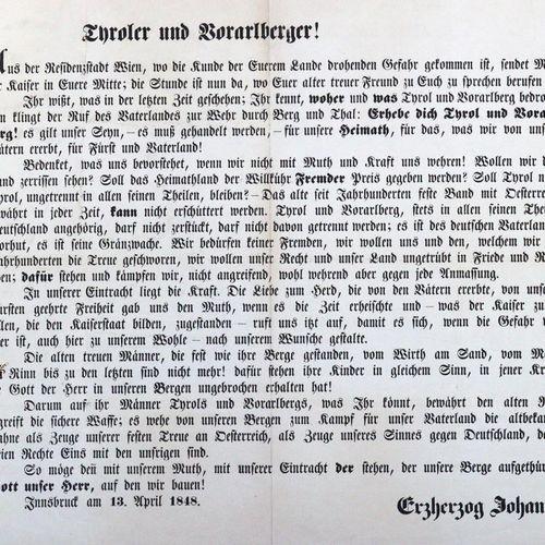 Wünsche der Tiroler pour le Congrès de 1848, imprimé en une seule feuille par Fe…