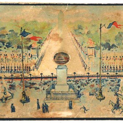 DIORAMA 在里尔的Le Bigot(约1875年)。一瞥,4层,尺寸:17.5 x 12厘米,长39厘米,手绘石版画。 在法国举行的游行。香榭丽舍大街的国…