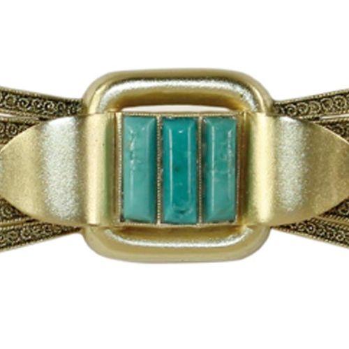 Brosche Theodor Fahrner. Art Deco Brosche mit 3 wohl Türkisstäbchen. 925 TF u. O…