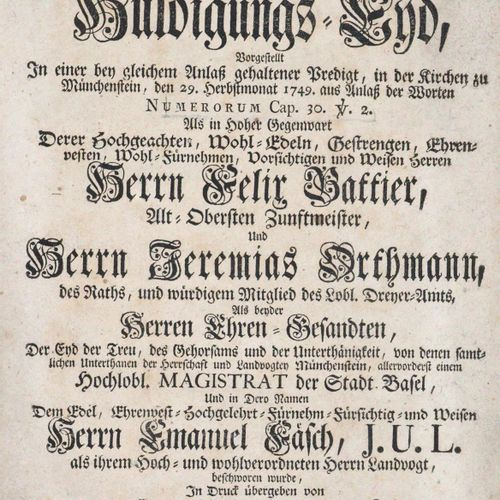 Bleyenstein,H.B. Le serment d'hommage exigé à juste titre par toutes les hautes …