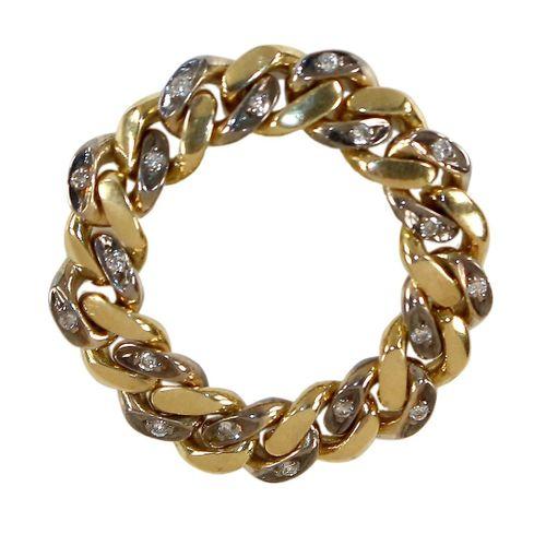 Kettenring Diamant 750 GG/WG. 戒指由18K黄金和白金的链节组成。镶嵌有20颗小钻石。带有750印记和钻石的DRC主标记。环形头部5…