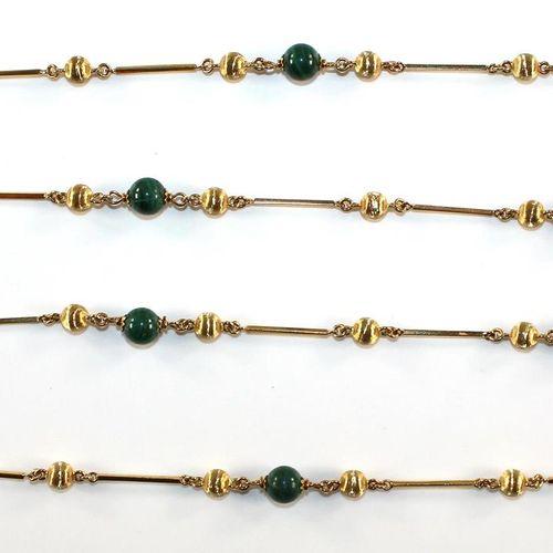 Kugelcollier 750 Gelbgold mit 32 schraffierten Goldkugeln u. 11 Malachitkugel. D…