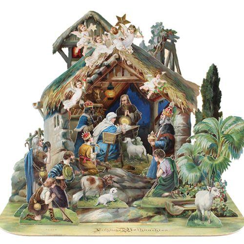 Klapp Krippe. Joyeux Noël. Probablement un imprimé allemand du début du 20e sièc…