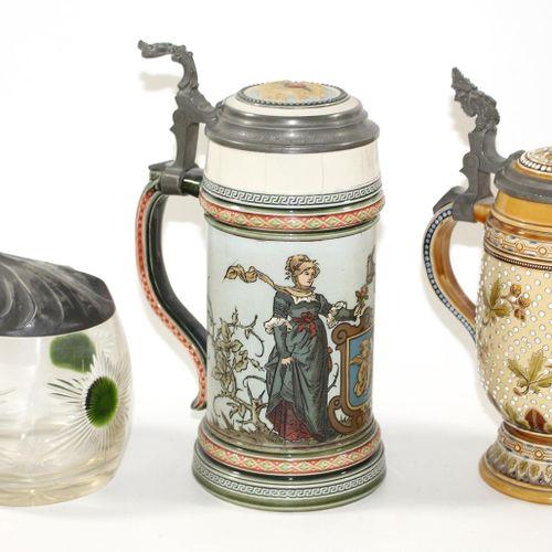 Bierkrüge u. Gläser. Collection de 2 chopes de bière Mettlach 0,5l No 1286 (très…