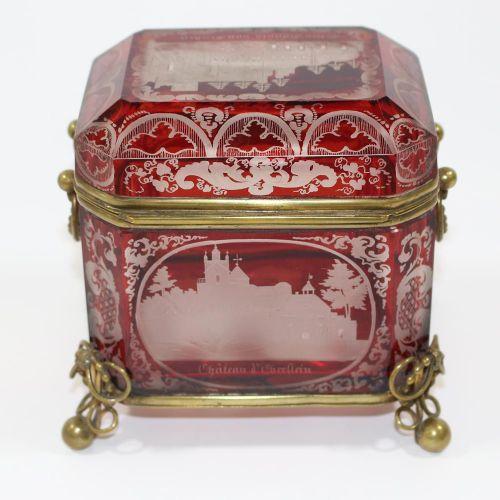 Große Zuckerdose mit Ansichten von Baden. 5 vues sur verre glacé incolore et rub…