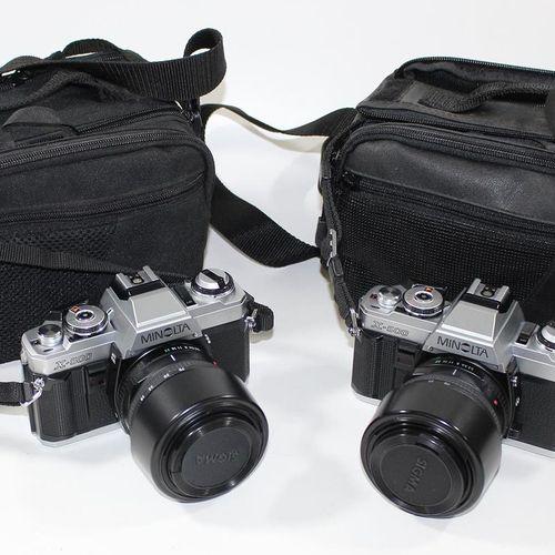Minolta X 500, gepflegte 收藏。2台相机和许多镜头及配件装在2个袋子和2个铝制箱子里。镜头:4 x Sigma UC Zoom 28 7…