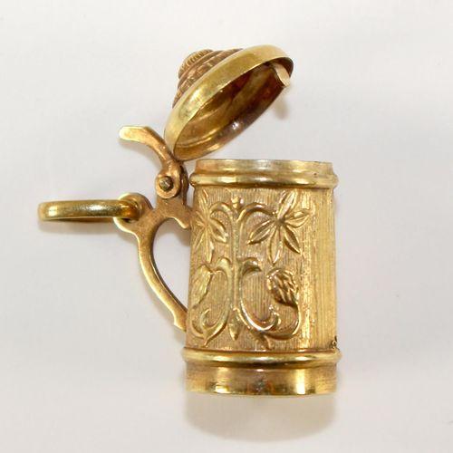 Charm, Bierkrug 585 Gelbgold gestempelt. Wohl 1.H.20.Jh. Fein detailliert gearbe…