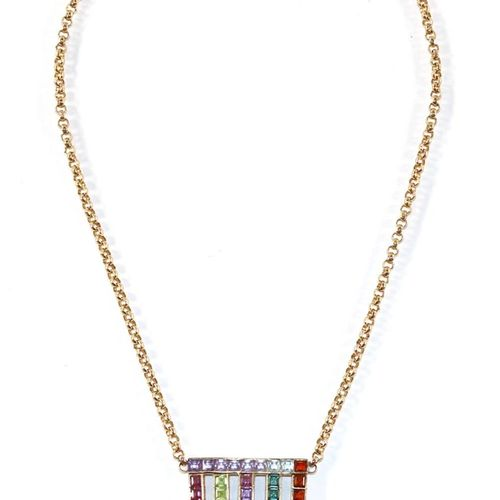 585 GG Collier im Art Deco. Feine Juwelieranfertigung. Zentralstück des Colliers…