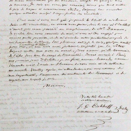 Konvolut 的6封信,大部分是19世纪中期的。 目前。Eh.阿道夫 梯尔巴哈的信,日期:2011年12月31日。魏玛,1824年8月20日,8°。3页,致…