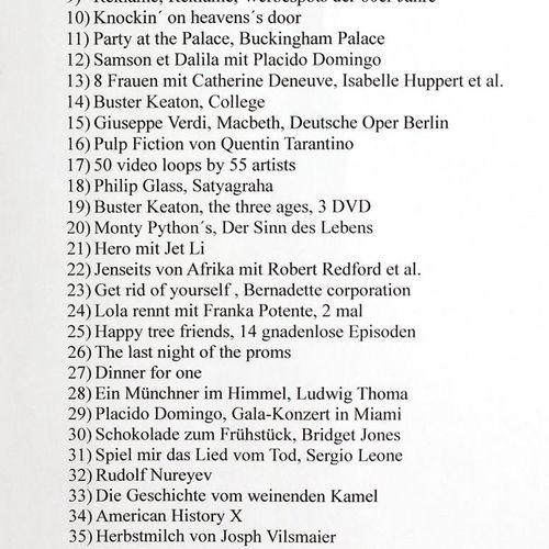 CD's u. DVD's. 收集了83部DVD影片,大部分仍有收缩包装。另外还有未播放的CD,Berthold Brecht, E.Bloch, Budden…