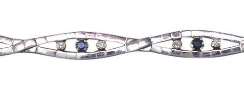Armband Saphir Brillant 750 Weißgold Armband mit 6 ovalen Elementen. Je mit 2 kl…