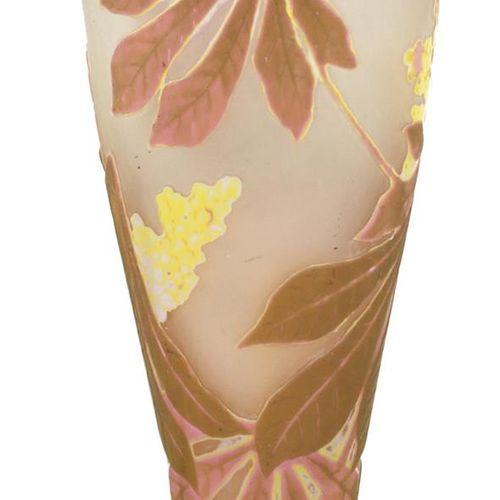 "Gallé, Emile Kastanienvase Vase ""Marron"" Nancy um 1900. Opak rose, hellbraun u. …"