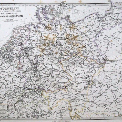 Stieler,A. 关于地球所有部分和世界建筑的手绘地图集。(第六版)。Gotha, Perthes (1871 75).Fol.有90个(包括标题),大部分…