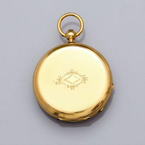 Montre de col à boitier en or jaune 750°/00 (18K), dos guilloché. Cache poussi…