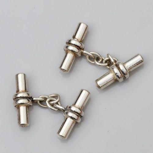 Paire de boutons de manchettes en argent 925, modèle bâtonnets. 15.9 g. L bâto…