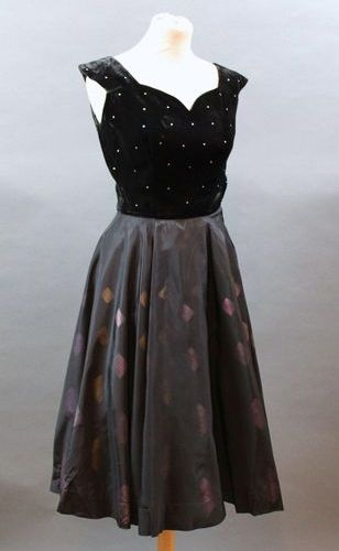 Robert PIGUET Paris  Black dress, bodice in silk velvet and rhinestones and skir…