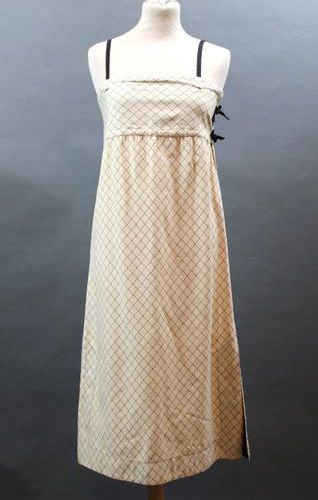 KENZO JAP, circa 1975  Strappy straight dress in beige cotton with black quiltin…