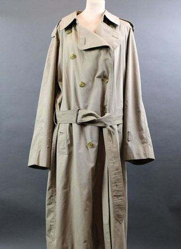 BURBERRYS'.  Men's trench coat in beige gabardine (missing cuffs loops and 2 but…
