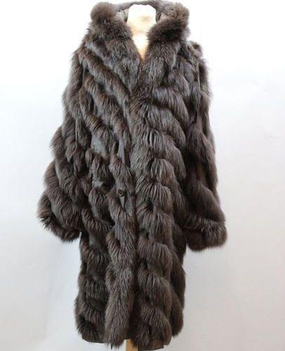 Manteau réversible (très léger) en Nylon et renard marron