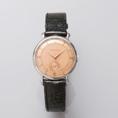 JAEGER LECOULTRE, montre bracelet d'homme à boitier rond en acier Vintage, mouve…