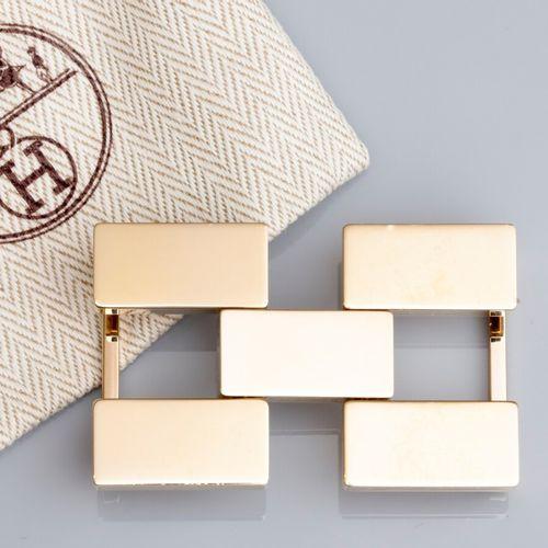HERMES, boucle de ceinture articulée dorée pour ceinture L: 30 mm. Signée et num…