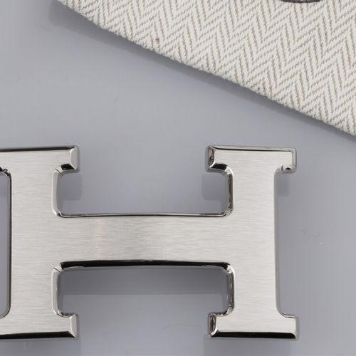 HERMES, boucle de ceinture Constance argentée brossée pour ceinture L: 30 mm. Si…