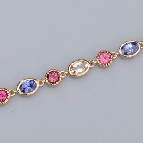 Bracelet en vermeil 925, serti de tanzanites, de tourmalines roses et de morgani…