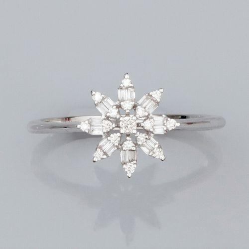 Bague fleur en or gris 750°/°° (18K) , sertie de diamants baguettes et de diaman…