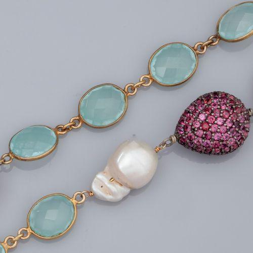 Sautoir en vermeil 925, serti de perles de culture baroques diamètre 13 mm, de p…