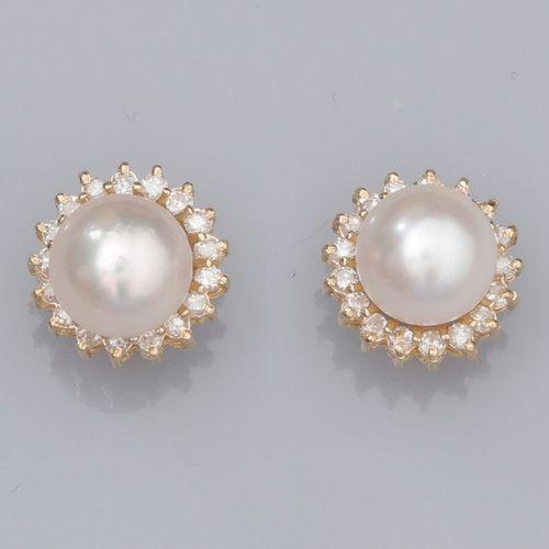 Paire de boucles d'oreilles en or jaune 585°/°°, serties chacune d'une perle de …