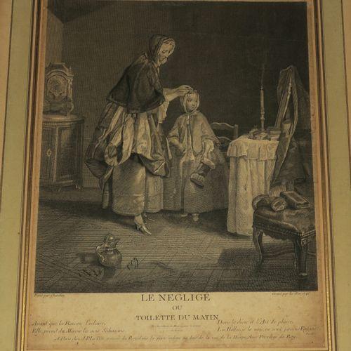 """CHARDIN Jean Siméon (Paris 1699 1779) (D'après) """"Le négligé ou Toilette du matin…"""