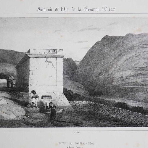 """LA REUNION A. ROUSSIN """"Fontaine du Château d'Eau (SAINT DENIS)"""". Juin 1849. Lith…"""