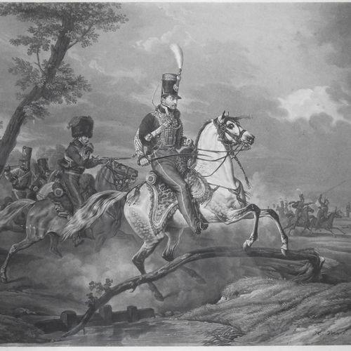 GRAVURE NAPOLEONIENNE VERNET / JAZET « Premier Régiment de Hussards en Tirailleu…