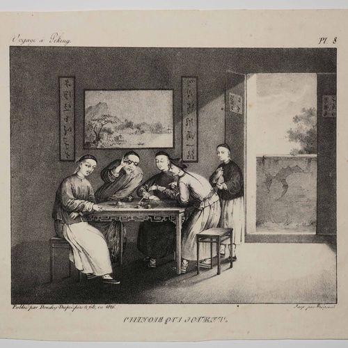 """CHINE """"Chinois qui jouent"""". 1826. Lithographie. Papier vélin. Planche 8 de la sé…"""