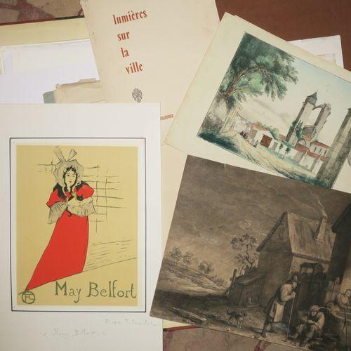 LOT d'environ 25 planches dont 1 estampe d'après H.M. Raymond TOULOUSE LAUTREC (…
