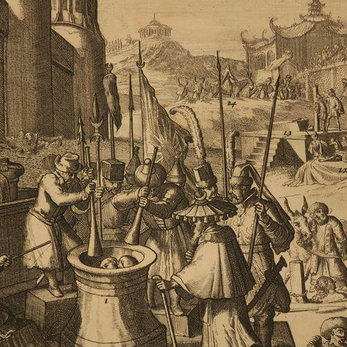 """ASIE """"SUPPLICES des ASIATIQUES"""". XVIIIème. Eau forte et burin. Epreuve sur papie…"""