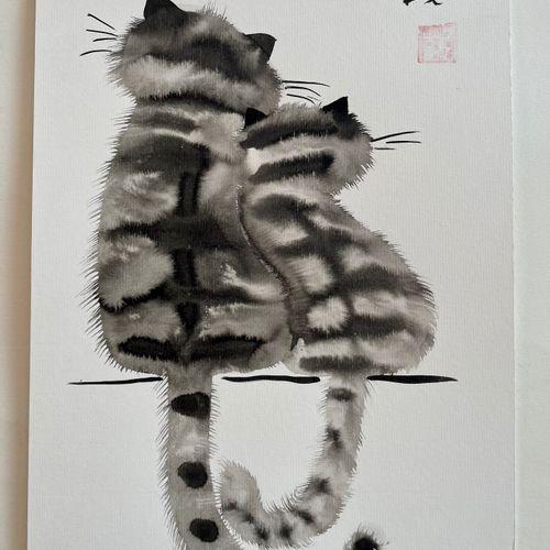 TIBAY Laszlo (Né à Szombathely, Hongrie, en 1962) [Deux chats de dos]. DESSIN or…
