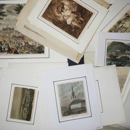 LOT d'environ 150 gravures XIXème (en noir ou couleurs), TOPOGRAPHIE majoritaire…