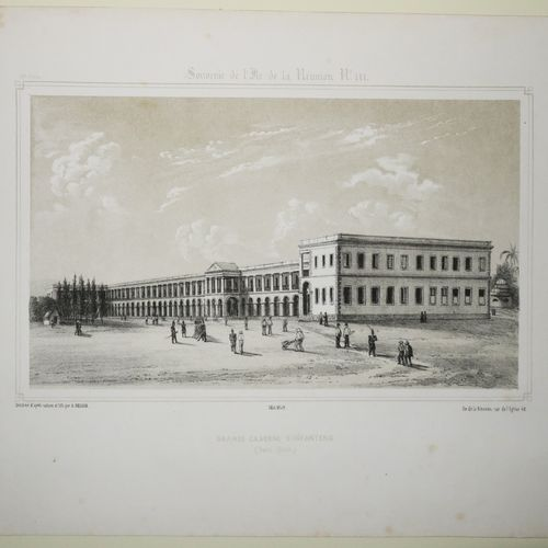 """LA REUNION A. ROUSSIN """"Grande CASERNE D'INFANTERIE (SAINT DENIS)"""". Mai 1849. Lit…"""