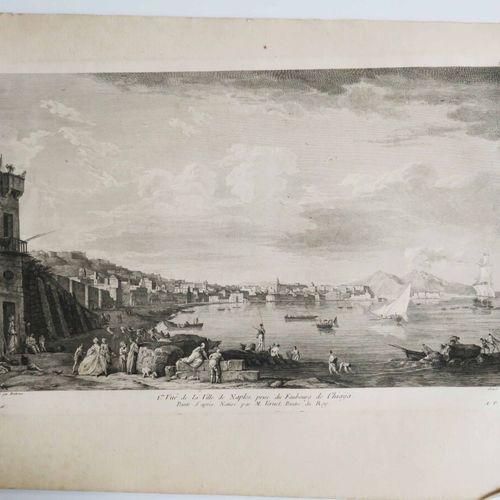 """ITALIE NAPLES """"1ère vue de la Ville prise du Faubourg de CHIAYA, peinte d'après …"""