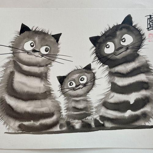 TIBAY Laszlo (Né à Szombathely, Hongrie, en 1962) [Famille de chats]. DESSIN ori…