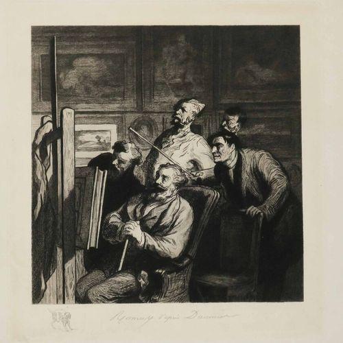 DAUMIER Honoré (Marseille 1808 1879) (d'après) [Dans l'atelier d'un artiste]. Ea…
