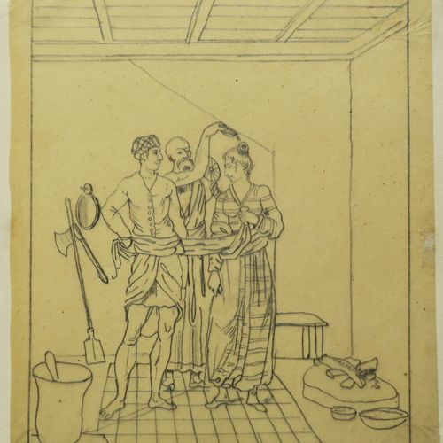 """SRI LANKA """"MARIAGE CANDIEN"""". XIXème. DESSIN au crayon sur papier calque, ancienn…"""