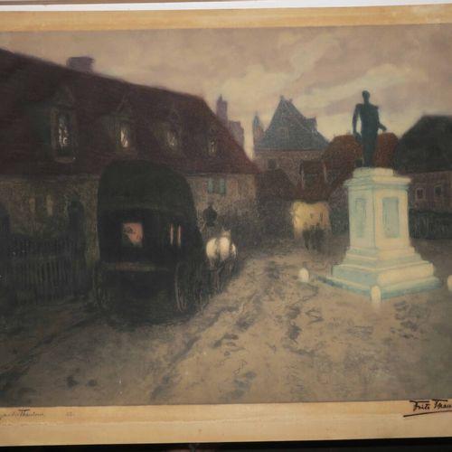 THAULOW Frits (1847 1906) [Paysage, Calèche traversant une place]. Gravure origi…