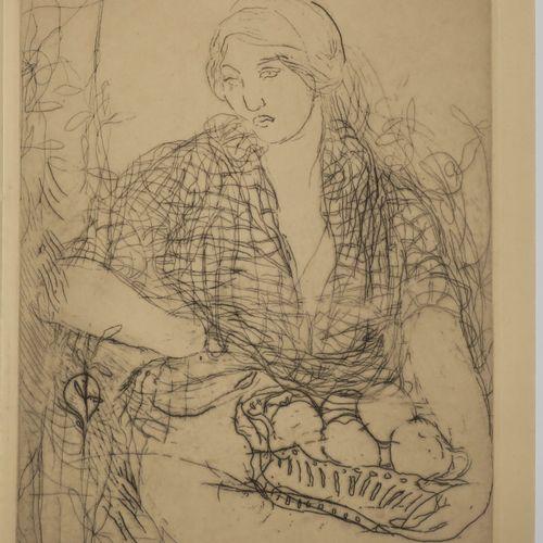 """AMAN JEAN (Chevry Cossigny 18601935) """"La femme à la corbeille"""". C.1900. Eau fort…"""