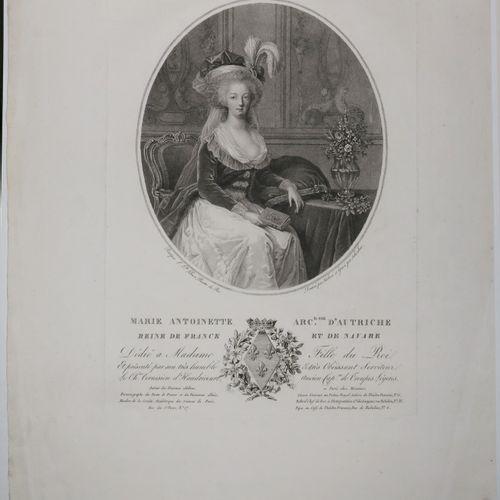 PORTRAITS de LOUIS XVI & MARIE ANTOINETTE. 2 portraits gravés au pointillé par S…