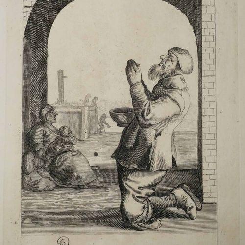 QUAST Pieter Jansz (Amsterdam 1606 1647) [Mendiant priant à genou]. XVIIème. Gra…