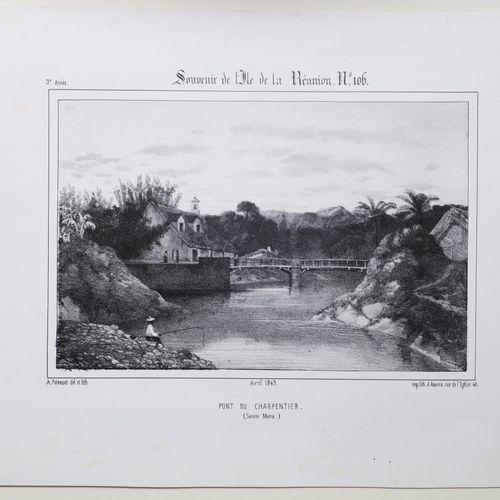 """LA REUNION A. ROUSSIN & POTEMONT """"Pont du Charpentier (SAINTE MARIE)"""". Avril 184…"""