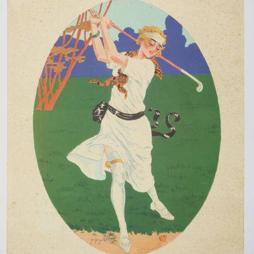 """GRELLET Georges (1869 1959) """"La joueuse de golf"""". C.1920. Pochoir. Signé en bas …"""